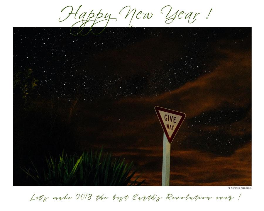 carte de voeux pour l'année 2018 par Flo Moncenis Photo, représentant un ciel étoilé